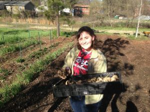 The author, learning first hand about community gardening in Atlanta.
