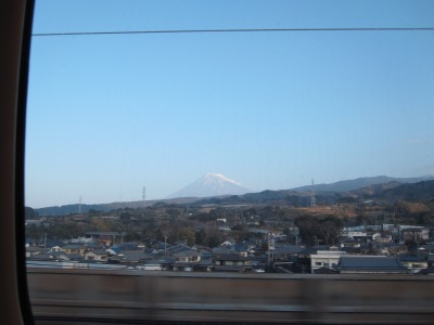 View of Mt. Fuji in Japan from inside the Shinkansen (high-speed bullet train). Photo by Meredith Collier.